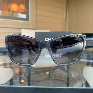 Chanel Sunglasses, Gray with Chain Details